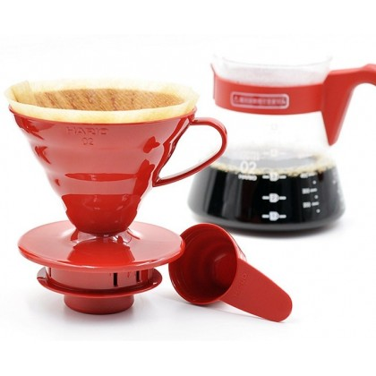 Hario V60 02 Kahve Demleme Kiti Kırmızı