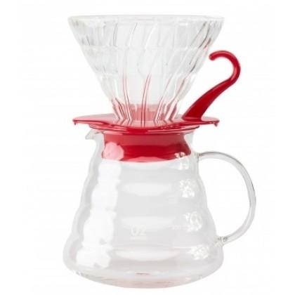 Hario V60 02 Cam Kahve Demleme Kiti Kırmızı